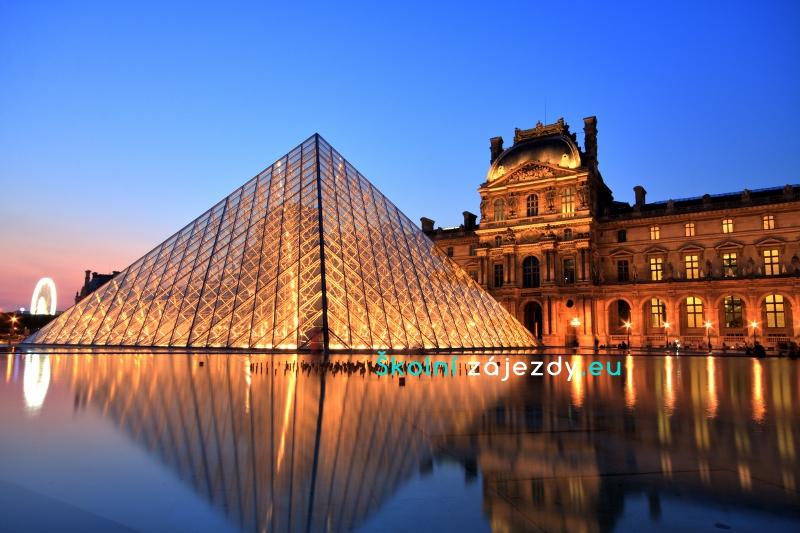 Známé muzeum Louvre v Paříži